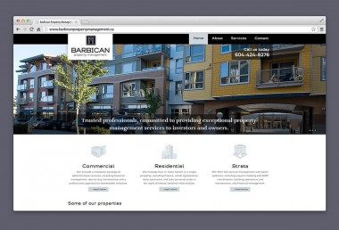Barbican Property Management homepage displayed in browser