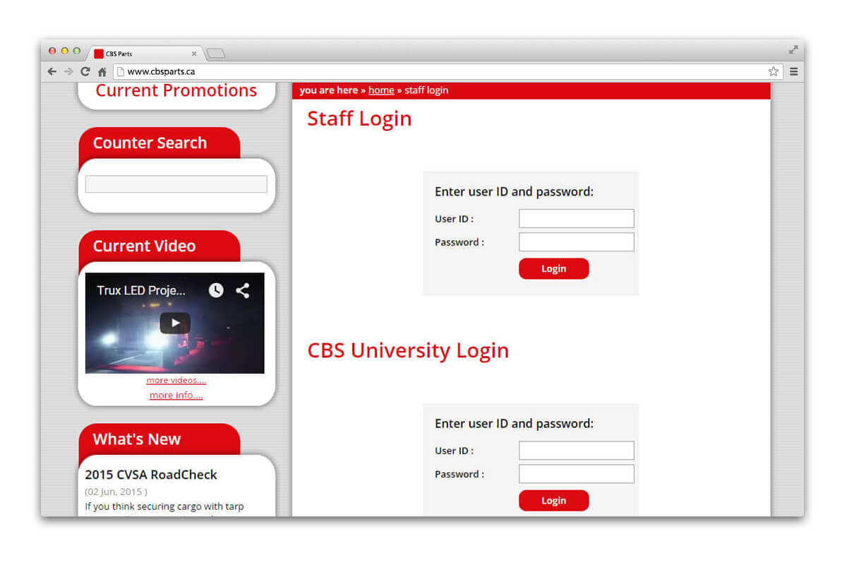 CBS Parts - Staff login Page displayed in browser
