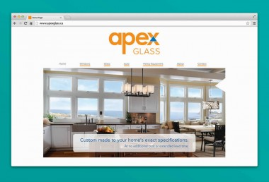Apex Glass - Homepage displayed on browser
