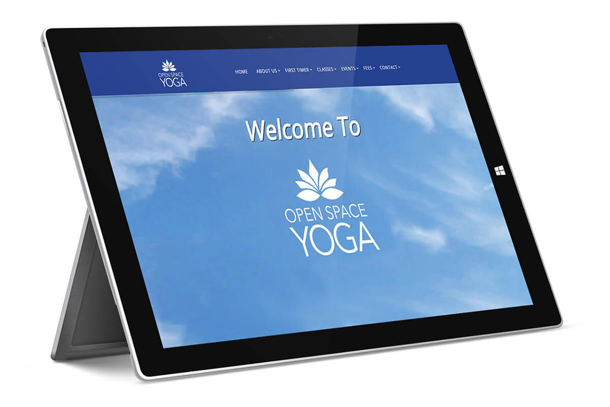 Open Space Yoga - Homepage displayed on surface pro