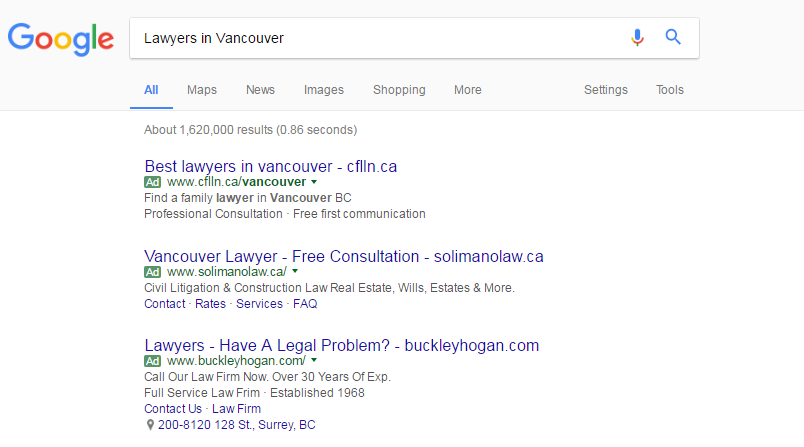 Google AdWords PPC Ads for Lawyers in Vancouver BC
