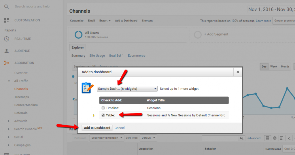Google Dashboard - Adding Channels Widget