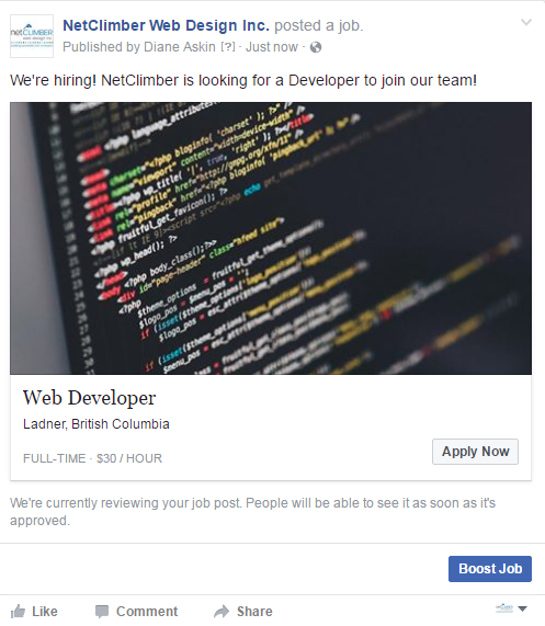 your job listing on facebook