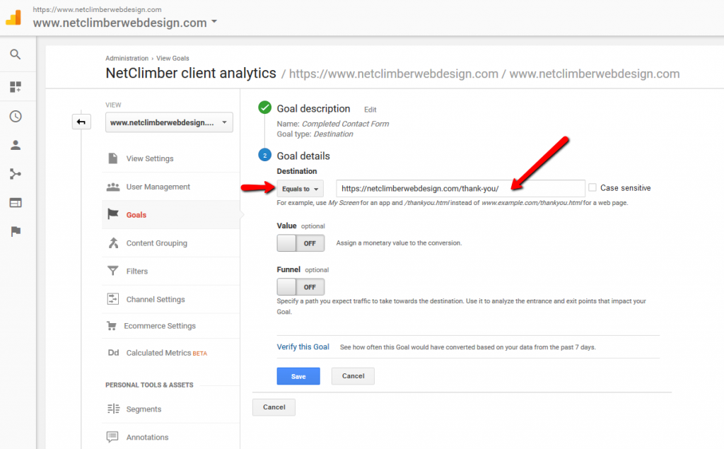 Google Analytics - Goal Creation - Destination