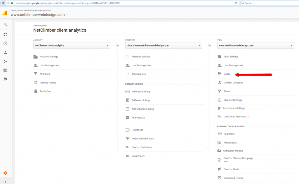 Google Analytics - Admin Menu - Goals
