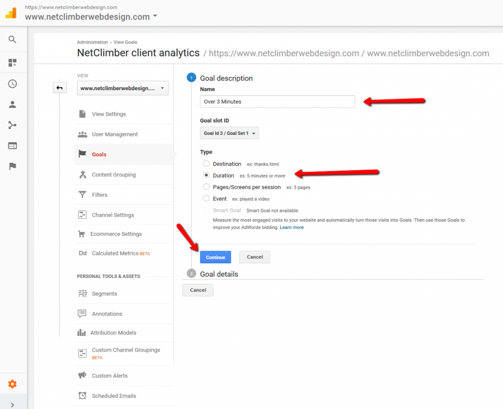 Google Analytics - Goal Creation - Selecting Duration
