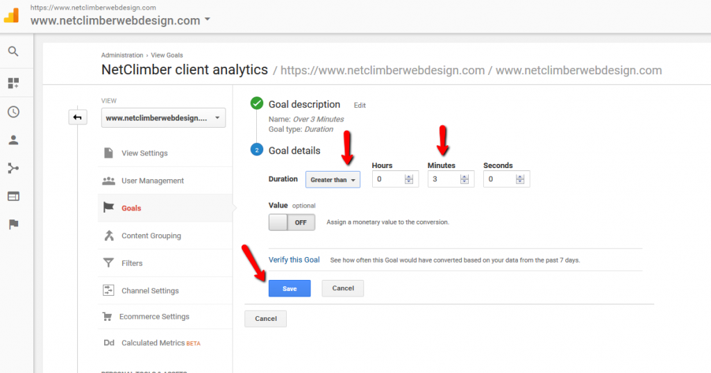 Google Analytics - Goal Creation - Setting Duration