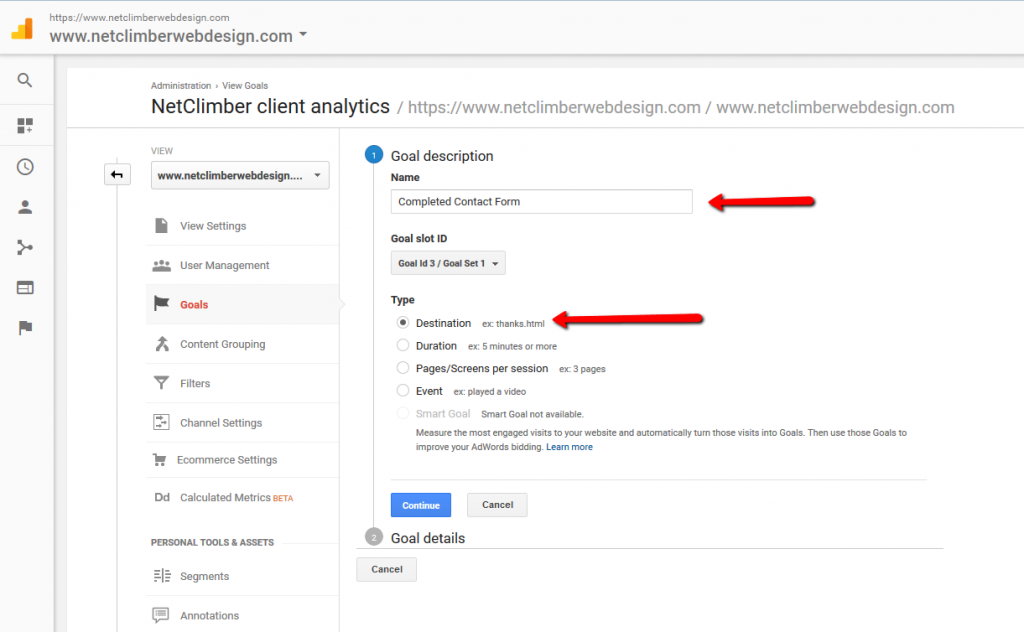 Google Analytics - Goal Creation - Destination Selector