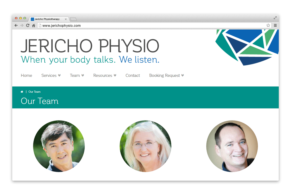 jericho physio website team page