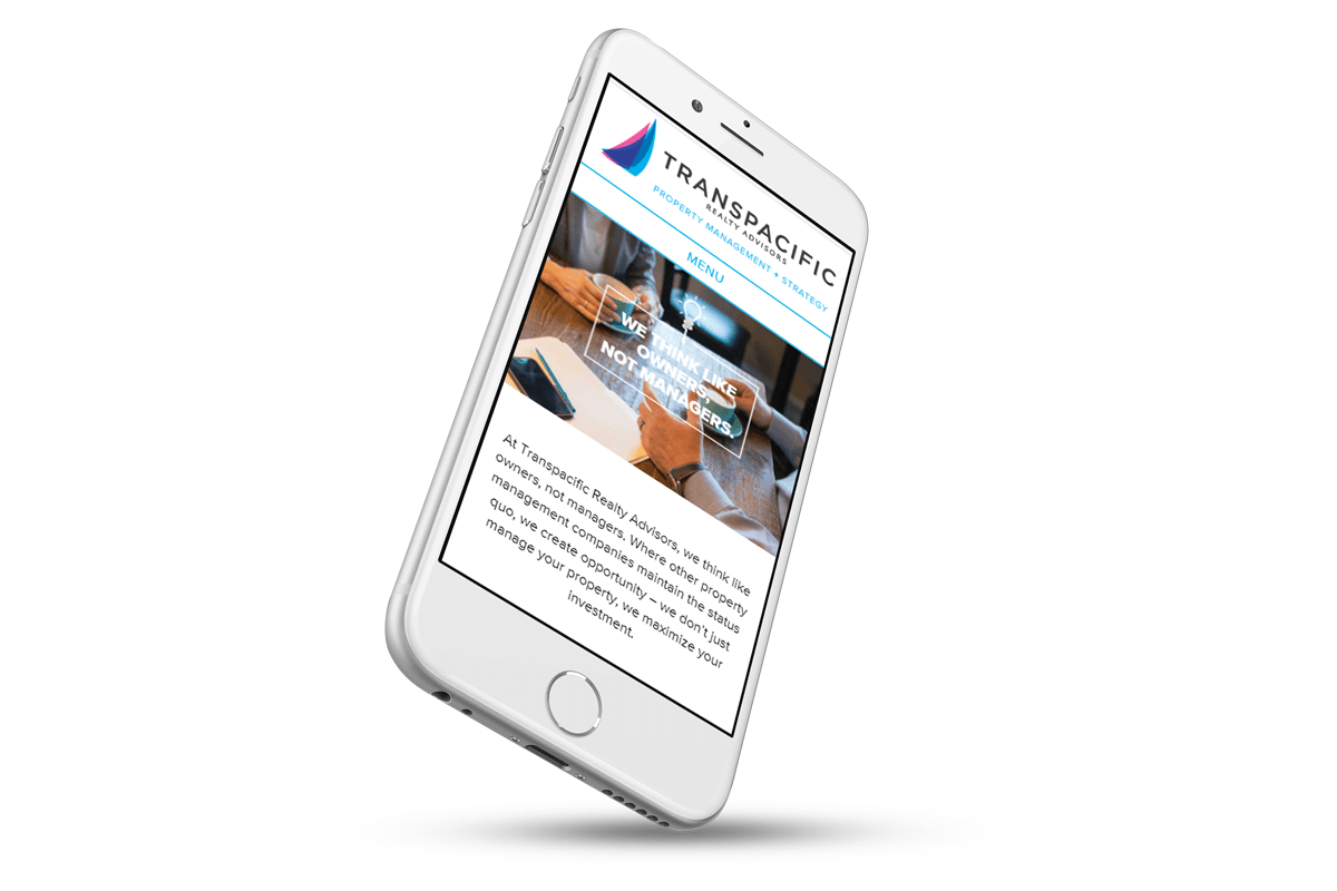 Transpacific Realty Advisors website on smartphone
