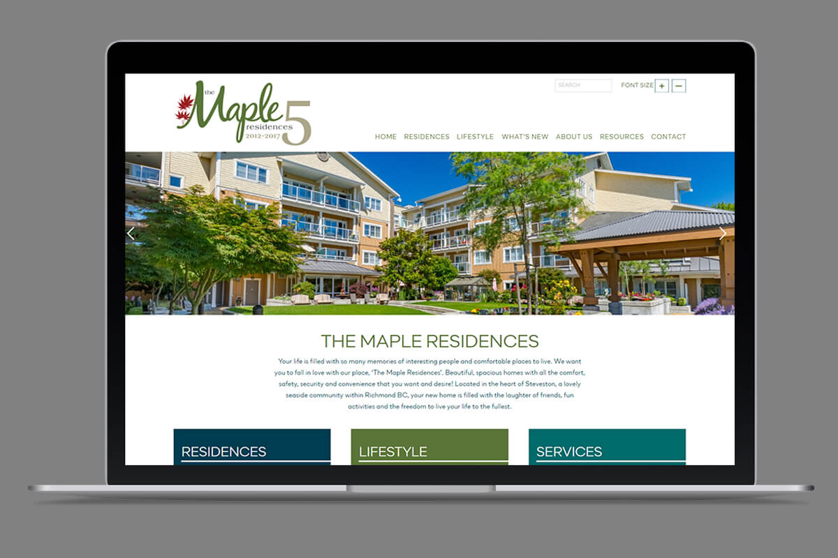The Maples Residences website on laptop