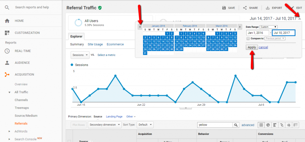 Change Date on Google Analytics Report