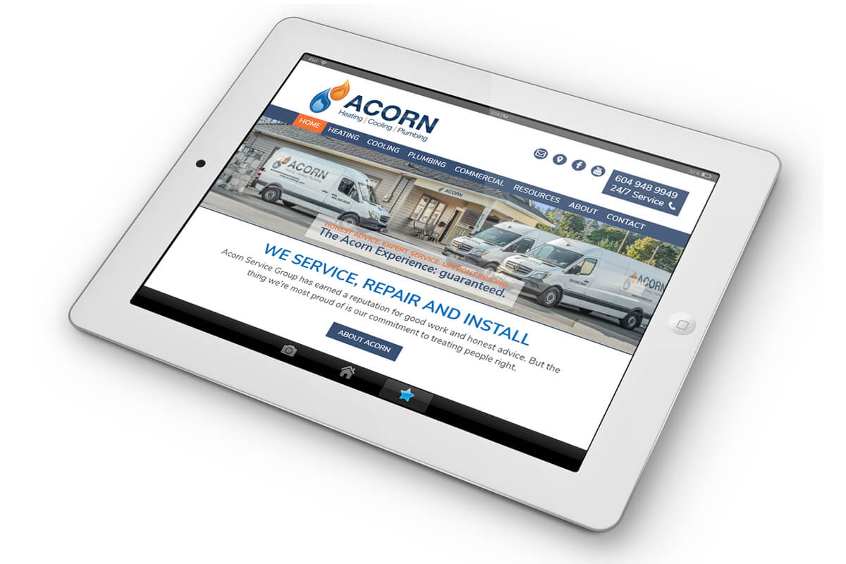 Acorn heat website on ipad