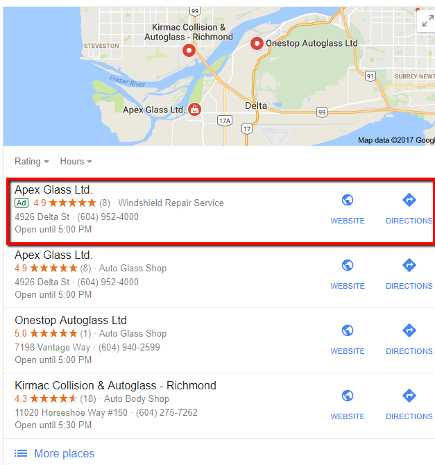 Google Ads displaying in local search results