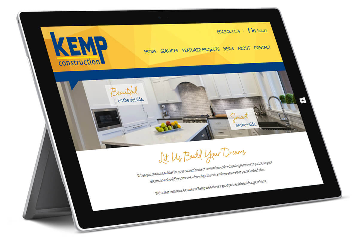 Kemp Construction website on Surface