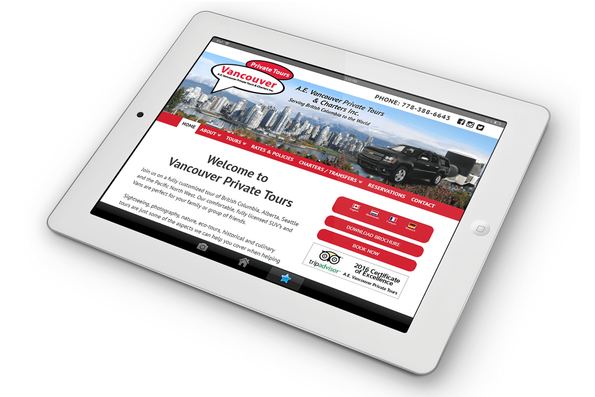 Vancouver Private Tours website on ipad