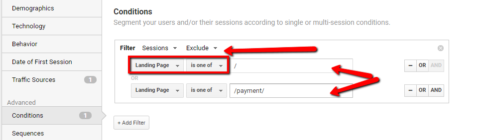 Removing commonly used pages in google analytics