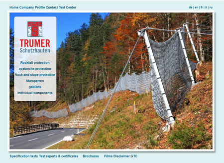 Trumer Schutzbauten website before redesign