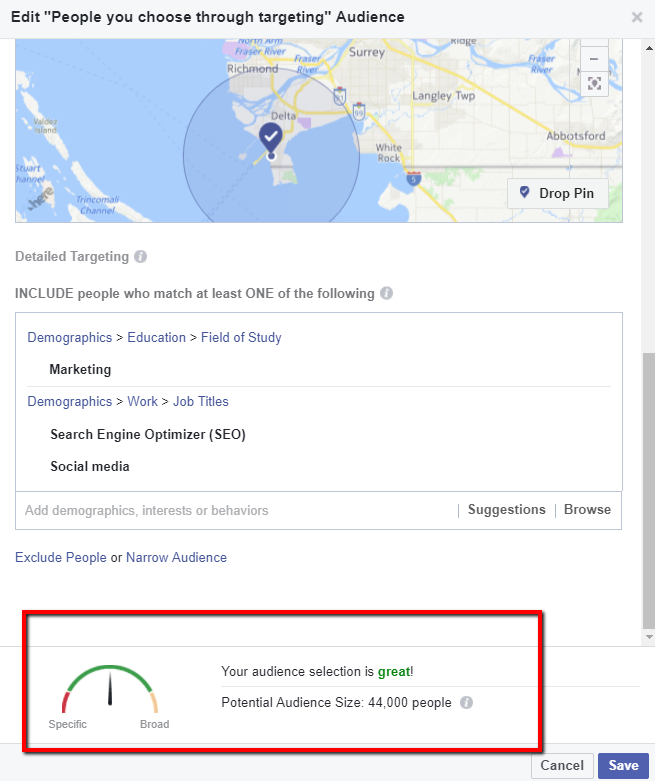 Gauging your audience size for boosted posts on Facebook