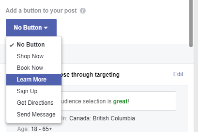 adding a button or CTA to your boosted post