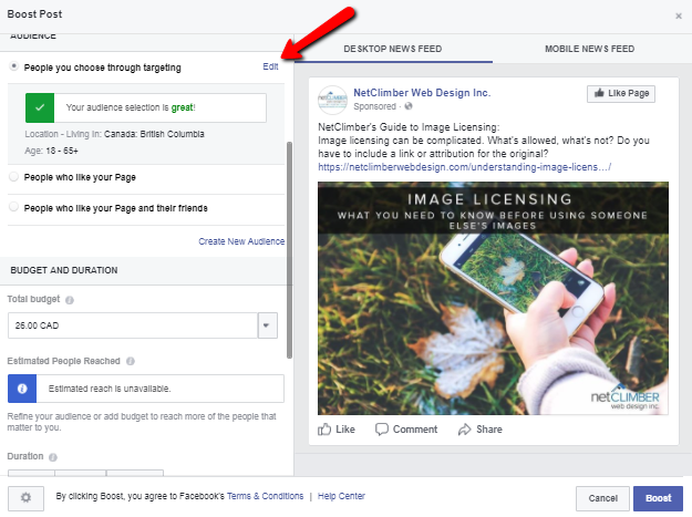 Updating your target audience for boosted posts