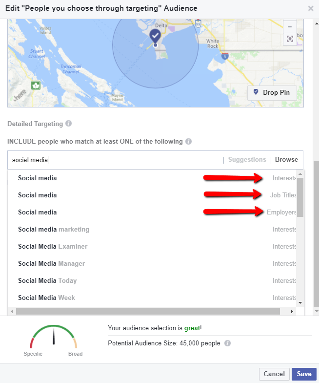 audience targeting in Facebook