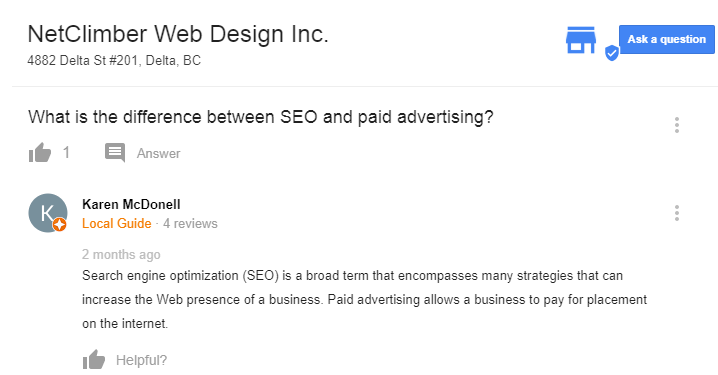 Question and Answer - Full sized - Google My Business pages