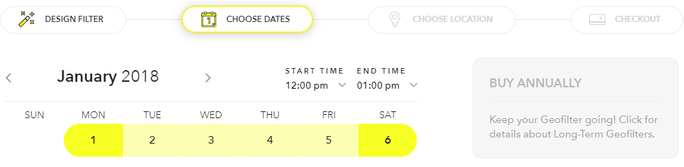 Choose dates and times for custom geofilters
