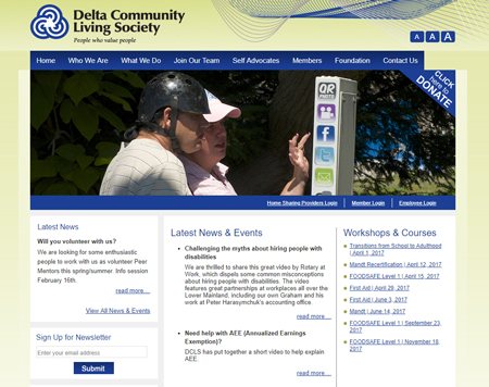 Delta Community Living Society former CMS website