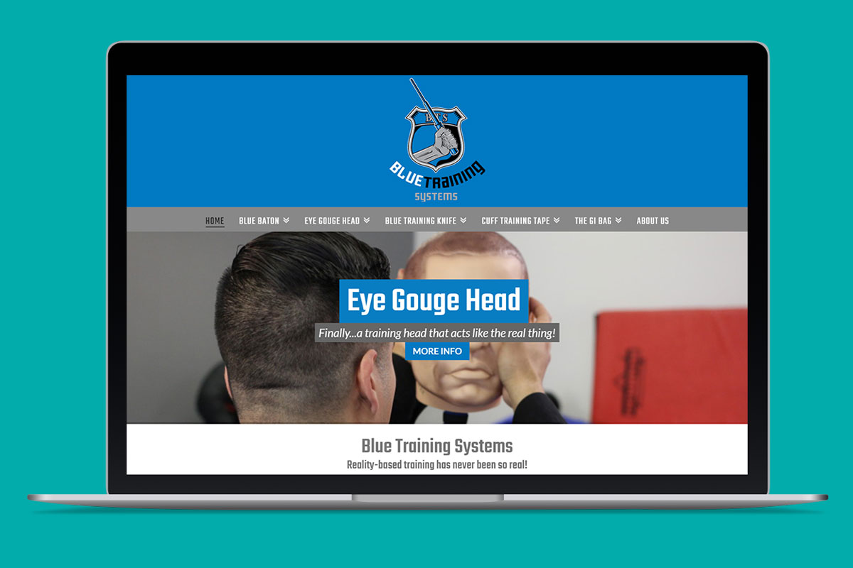 Blue Training Systems home page on laptop