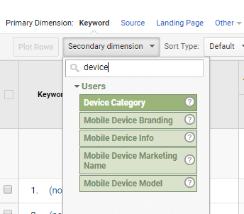secondary dimension filtering google analytics