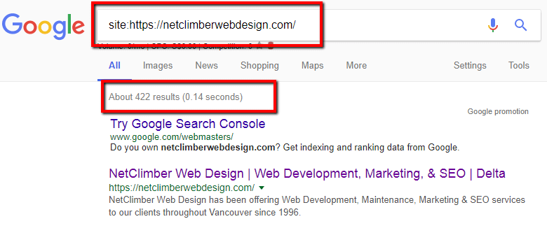 site: search in Google