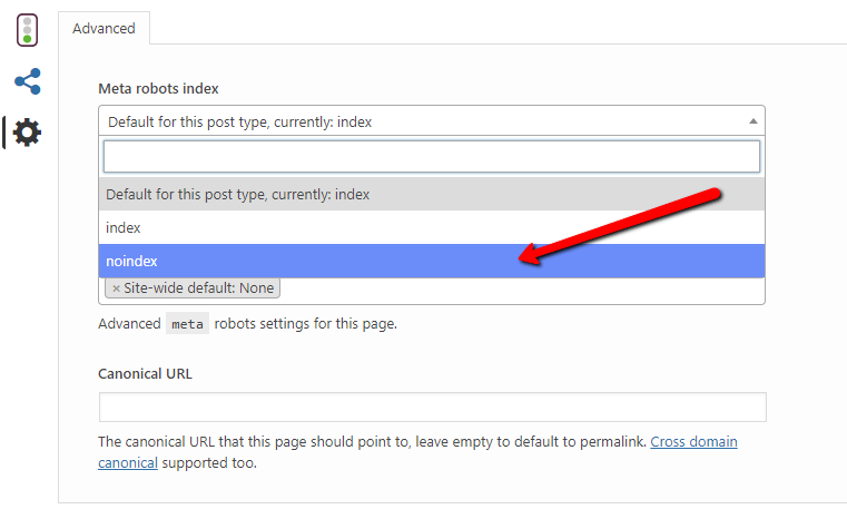 no index seo setting on Yoast